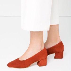 Zara Rust Colored Suede Block Heels NWT Size 6